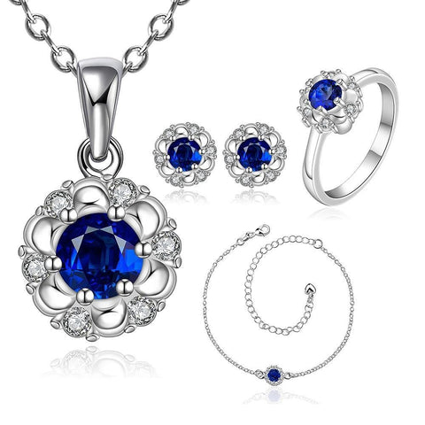 925 Sterling Silver Filled Necklace Ankle Earrings Ring Set