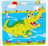 Educational Toys Cartoon Development 9 pcs wooden puzzles