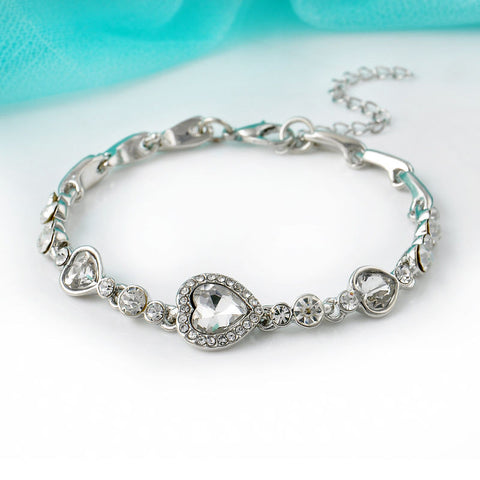Women's Heart Crystal Rhinestone Bangle Bracelet
