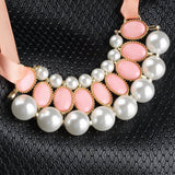 Sweet Pearl Ribbon Bib Choker Statement Collar Necklace