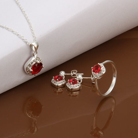 925 Sterling Silver Filled Ruby Necklace Earrings Ring Set