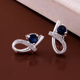925 Sterling Silver Exquisite Blue Zircon Earrings