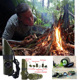 7 in 1 Camping Survival Whistle Compass Thermometer Flashlight MagnifierTool