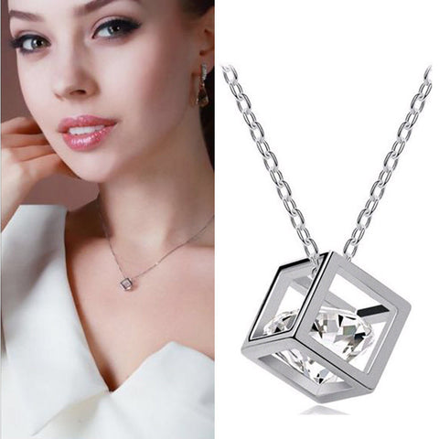 925 Sterling Silver Necklace Magic Cube Pendant