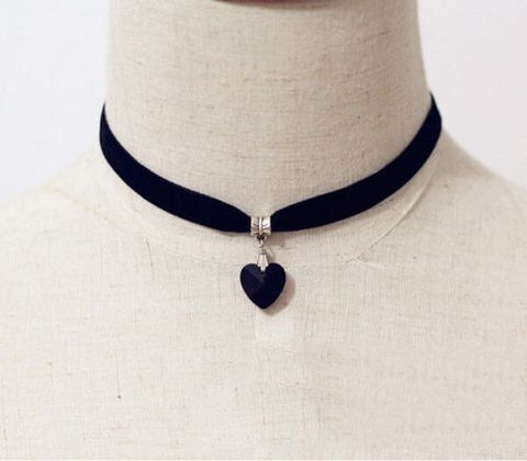 Handmade Black Velvet Choker With Crystal Heart Pendant