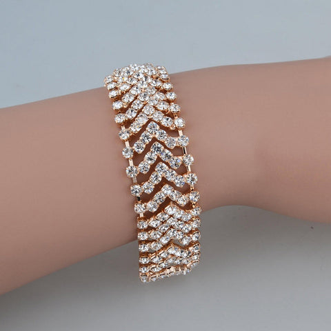 Charming Gold/Sliver Plated Wedding Crystal Bracelet For Women