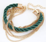 Womens Multilayer Handmade Gold Chain Braided Rope Bracelet
