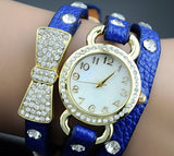 Women'S Crystal Bracelet Leather Strap Chain Quartz Wrist Watch