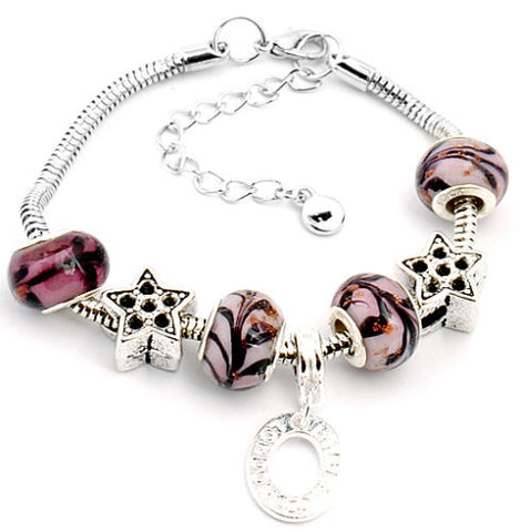Handmade Murano Glass Beaded European Charm Bracelet