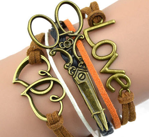 Braided Scissors Bracelet 0006bs