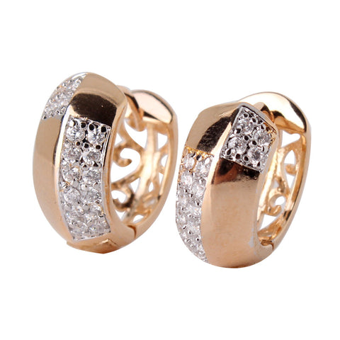 18k Gold Platinum Plated Silver CZ Huggie Big Hoop Earrings