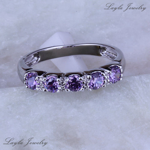 Purple Amethyst Crystal CZ Diamond Rings for Women