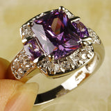 Purple Amethyst White Topaz 925 Silver Ring