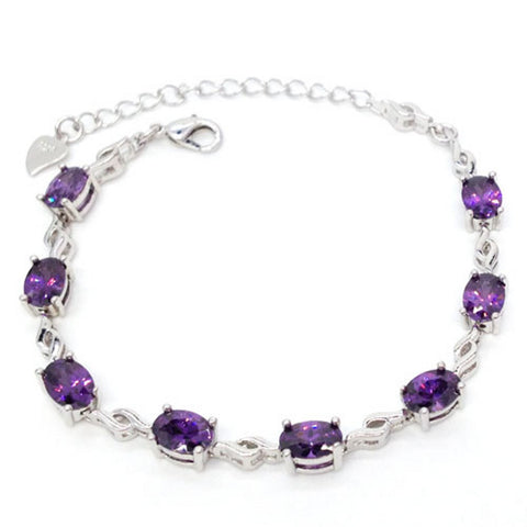 Genuine 925 Sterling Silver Natrual Raw Purple Amethyst Bracelet Chain