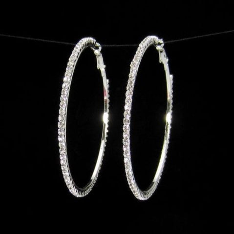 Party Diamond Crystal Hoop Dangle Earring W/Chic Rhinestones