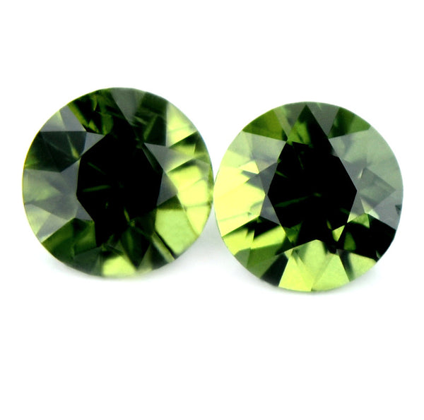 4.55 mm Certified Natural Green Sapphires Pair - sapphirebazaar - 1