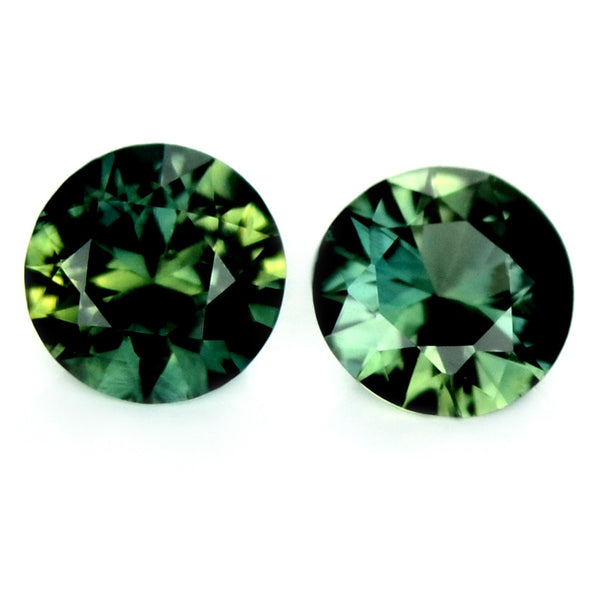 Certified Natural 4.6mm Matching Green Diamond Cut Pair Sapphire - sapphirebazaar - 1