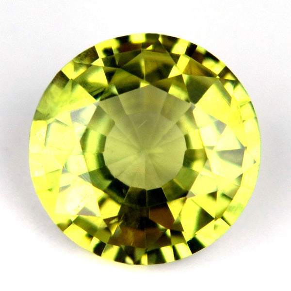 Certified 5.27mm Round Natural Sapphire Greenish Yellow 0.63ct Eye Clean Madagascar Gem - sapphirebazaar - 1