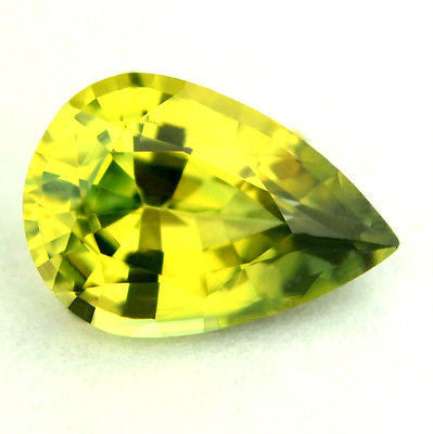 Certified Natural Sapphire Greenish Yellow 0.85ct Pear Shape vvs Clarity Madagascar Gem - sapphirebazaar - 1