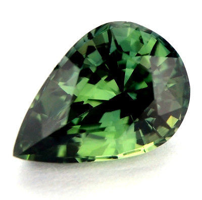 Certified Natural 0.88ct Green Sapphire Pear Shape vvs Clarity Madagascar Gem - sapphirebazaar - 1