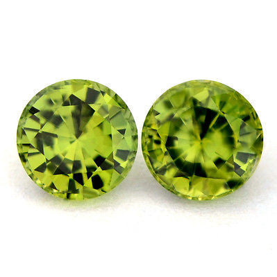 5mm Round Certified Natural Unheated Green Sapphires 1.44ct Matching Pair vvs Clarity Madagascar Gem - sapphirebazaar - 1