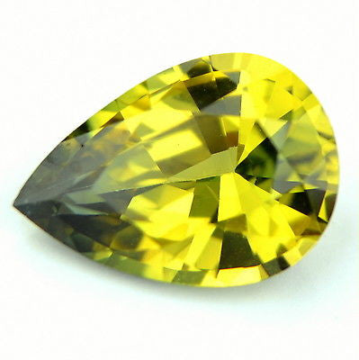 Certified Natural Unheated One ct Pear Greenish Yellow Sapphire Flawless IF Clarity Madagascar Gem - sapphirebazaar - 1