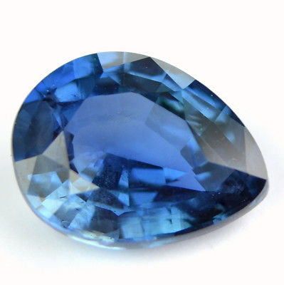 Certified Natural One ct Blue Sapphire Pear Shape Eye Clean Madagascar Gemstone - sapphirebazaar - 1