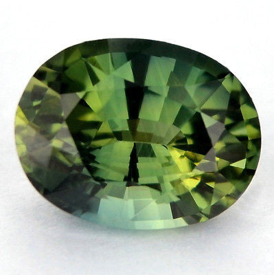 Certified Natural One ct Green Yellowish Sapphire Oval Shape vvs Clarity Madagascar Gem - sapphirebazaar - 1