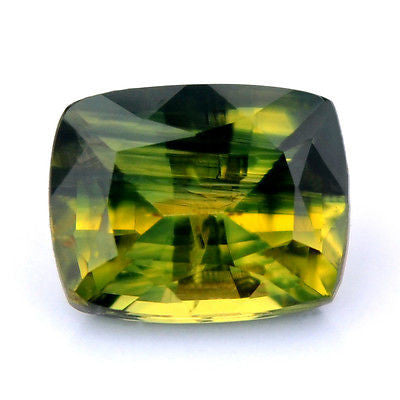 Certified Natural 1.06ct Yellowish Green Sapphire Bicolor Cushion Shape Si Clarity Madagascar Gem - sapphirebazaar - 1