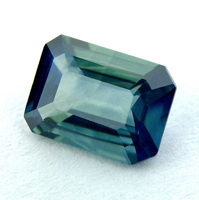Certified Natural Sapphire Blue 0.98ct Emerald Cut Vvs Clarity Madagascar Gem - sapphirebazaar - 1