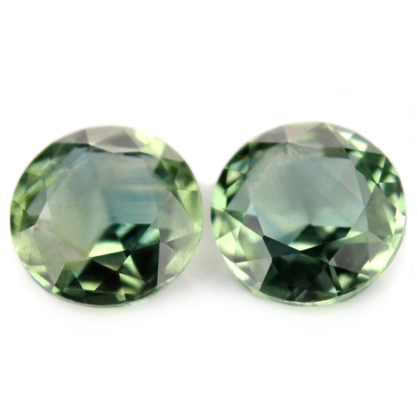 0.93 ct Certified Natural Green Sapphire Matching Pair