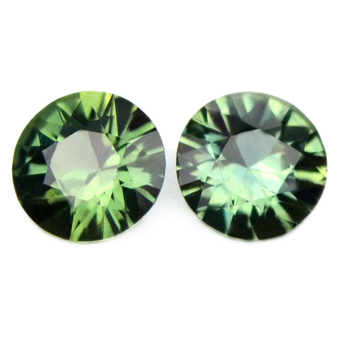 0.70ct Certified Natural Green Sapphire Matching Pair