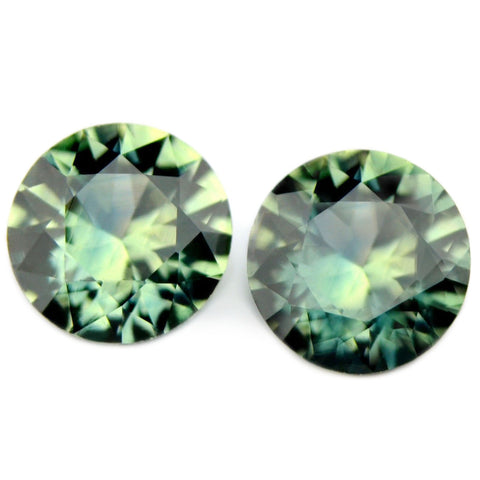 0.83ct Certified Natural Green Sapphire Matching Pair