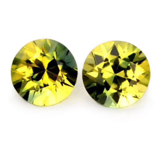 0.66 ct Certified Natural Bicolor Sapphire Pair