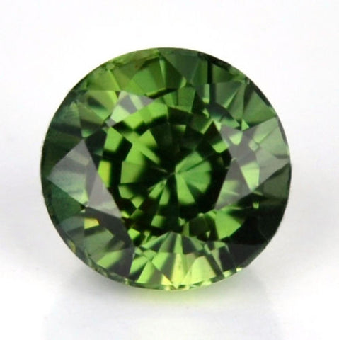 Certified 4.73mm Round Natural Green Sapphire 0.65ct Flawless If Clarity Madagascar Gem - sapphirebazaar - 1