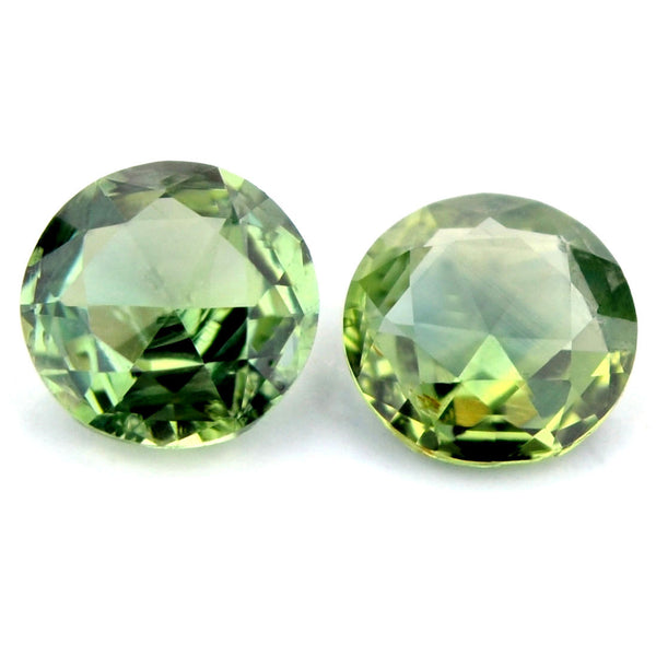 1.16 ct  Certified Natural Green Sapphire Pair