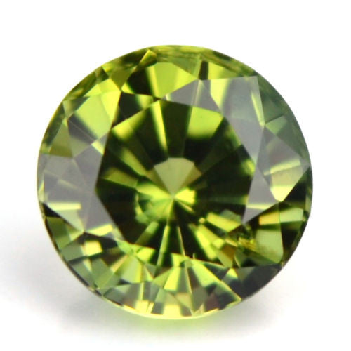 Certified Natural 4.70mm Round Sapphire 0.63ct Yellowish Green Vvs Clarity Madagascar Gem - sapphirebazaar - 1