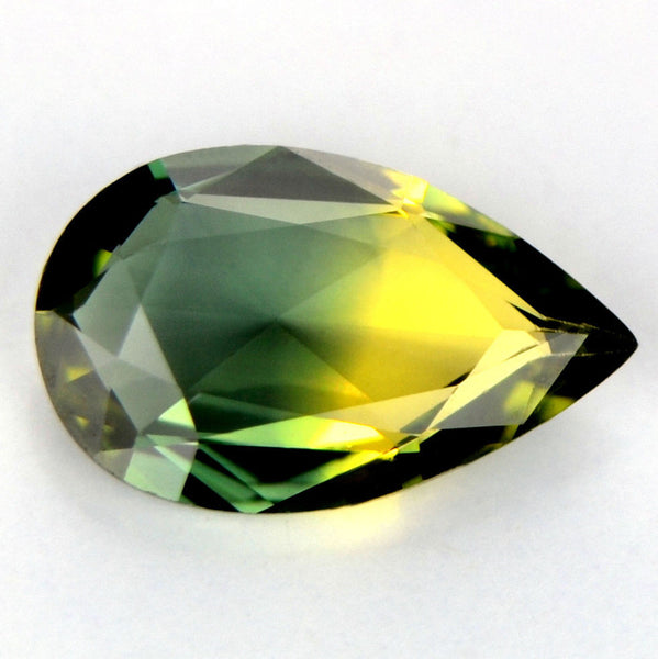 Certified Natural Sapphire 0.51ct Pear Shape Rose Cut Flawless If Clarity Yellow Green Bicolor Madagascar Gem - sapphirebazaar - 1