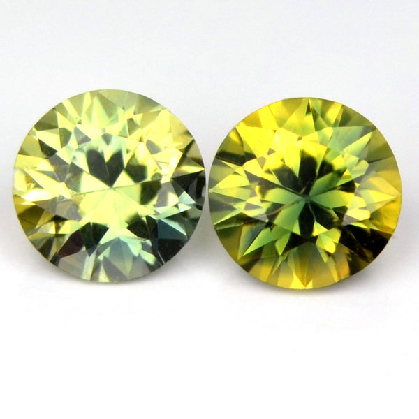 Certified 3.5mm Round Natural BiColor Sapphire Green Yellow Brilliant Cut Matching Pair 0.40ct Eye Clean Madagascar Gem - sapphirebazaar - 1