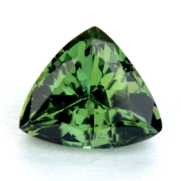 Certified Natural Unheated Green Sapphire 1.10ct Trillion Shape Flawless IF Clarity Untreated Madagascar Gem - sapphirebazaar - 1