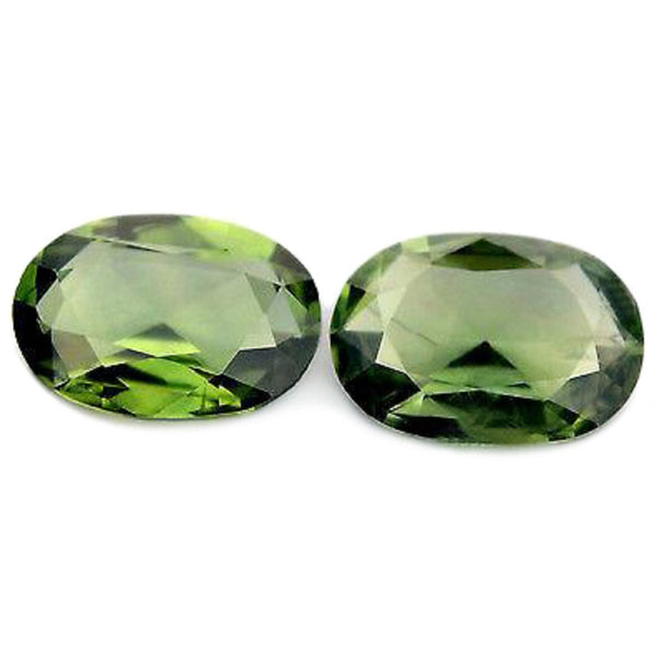 0.93ct Certified Natural Green Sapphire Matching Pair