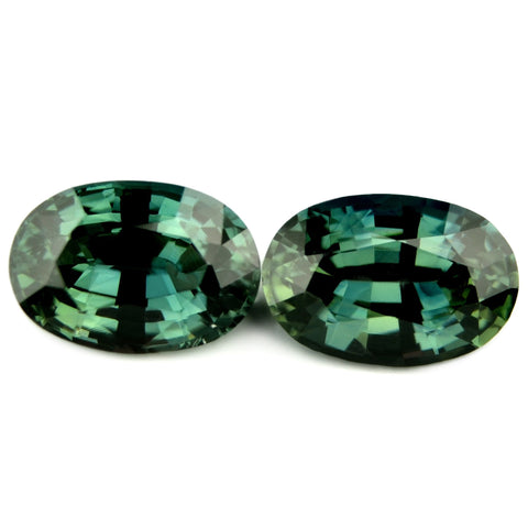 1.65ct Certified Natural Teal Sapphire Matching Pair