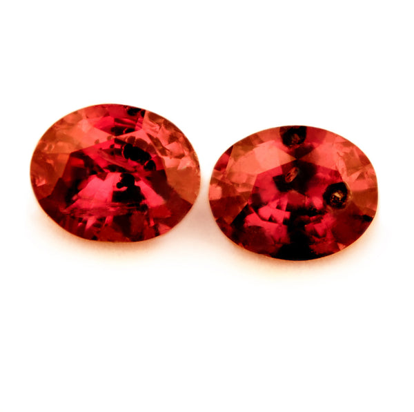Certified Natural 0.34ct Matching Untreated Ruby Pair, Oval Cut - sapphirebazaar - 1