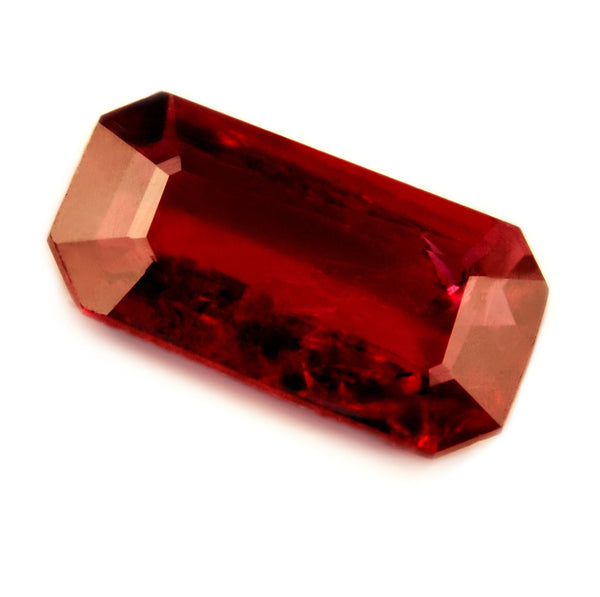 Certified Natural 0.58ct Unheated + Untreated Ruby, Emerald Cut - sapphirebazaar - 1