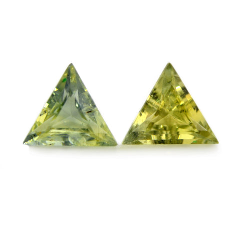 0.76ct Certified Natural Green Sapphire Pair