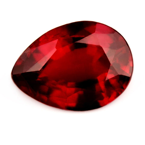 Certified Natural 1.05ct Unheated Vivid Royal Red Ruby, Pear Cut - sapphirebazaar - 1