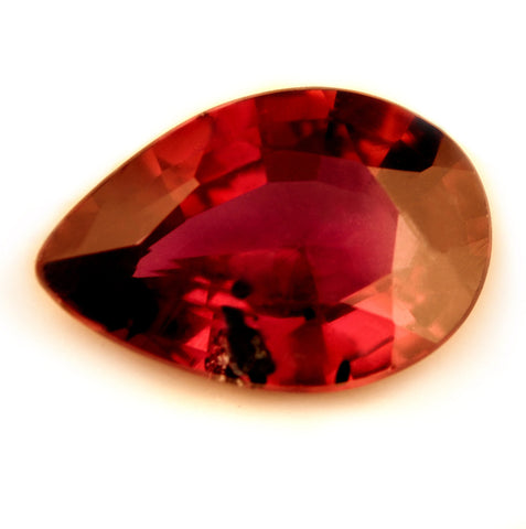 Certified Natural 0.76ct Unheated Red Ruby, Pear Cut - sapphirebazaar - 1