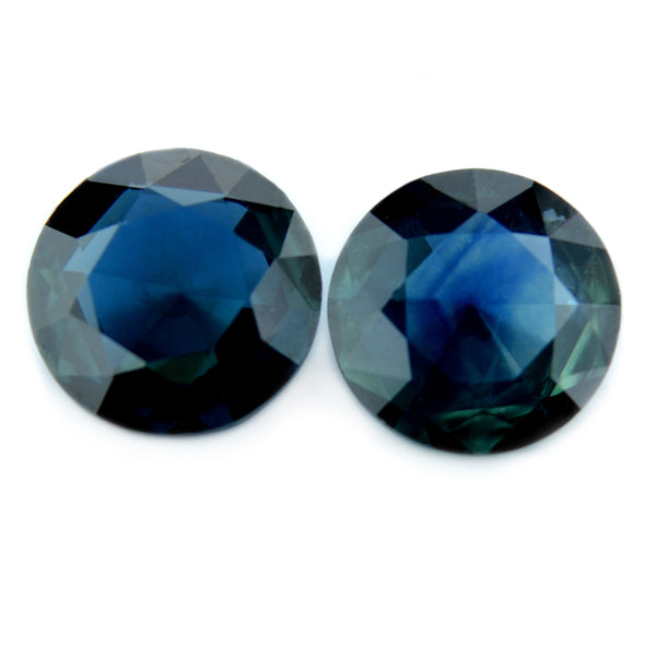 0.71 ct Certified Natural Teal Sapphire Pair