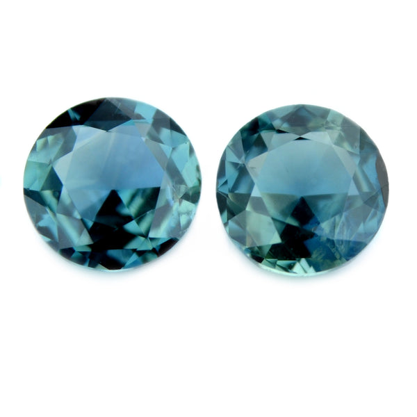 1.15 ct Certified Natural Teal Sapphire Pair