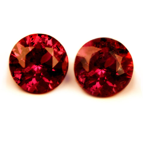 4.24 mm Certified Natural Red Ruby Pair - sapphirebazaar - 1